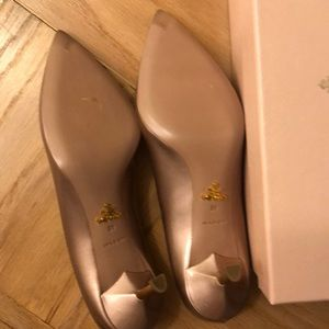 Prada Shoes - NWT Prada Nude Gold Heels Vernice Metal Nudo